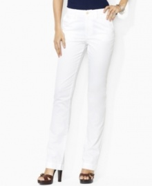 The epitome of contemporary style and comfort, Lauren Jeans Co.'s chic  chino is rendered in a soft stretch cotton blend with a straight-leg silhouette.